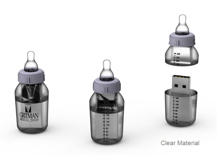 baby bottle, customer flash drive